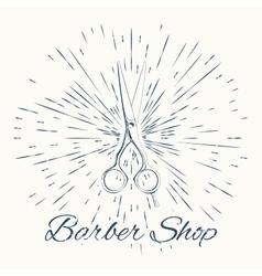 scissors and vintage sun burst frame Barbershop vector image vector image