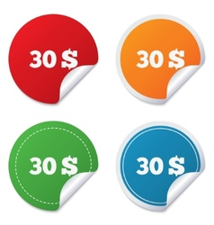30 Dollars sign icon USD currency symbol vector image vector image