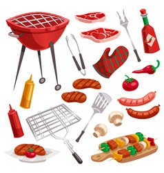 BBQ Grill Elements Set vector image