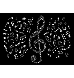 Black and white treble clef with musical notes vector image vector image