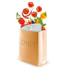 Diet paper bag with a scale and vegetables Concept vector image