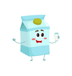 funny cute milk box character with a shy smile vector image vector image