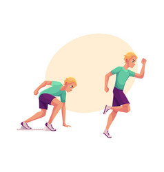 male runner sprinter jogger ready to start and vector image vector image