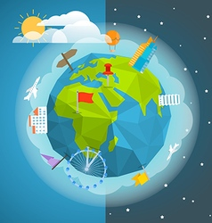 The Earth with different pins and buildings vector image