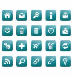 web icons glossy blue blue vector image vector image