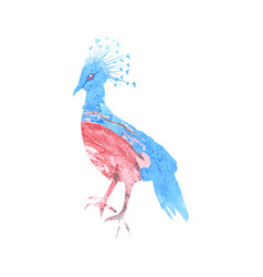 Crowned pigeon silhouette with a blue and pink vector