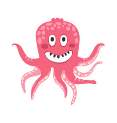 cute smiling cartoon pink octopus character funny vector image