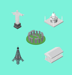 isometric attraction set of rio athens india vector image vector image