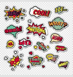 pop art comic speech bubbles set with funny text vector image