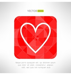 Red white heart icon in modern geometrical design vector image vector image