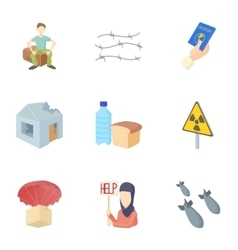 Refugees icons set cartoon style vector image