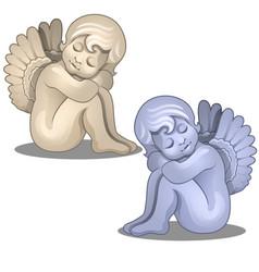 sculpture angel baby serene figurine isolated vector image