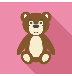 Teddy Bear in Flat Style with Long Shadows vector image