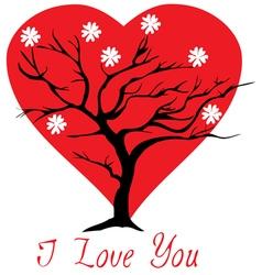 valentine tree heart vector image vector image