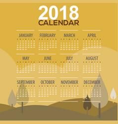 2018 trees mountain landscape calendar vector