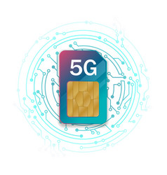 5g sim card technology background vector