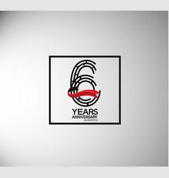 6 years anniversary logotype flat style vector