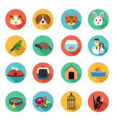 Animals and veterinarian flat icons vector