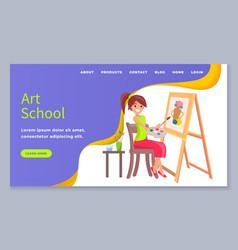 Art school banner creativity class girl painting vector