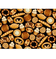 Bakery products on the black seamless background vector