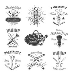 Barber shop shiny blades promotional emblems set vector