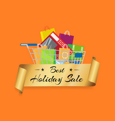 best holiday sale banner cart full of shopping bag vector image