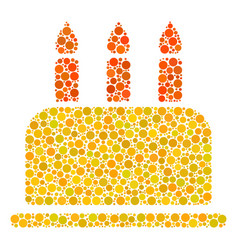 Birthday cake collage of filled circles vector