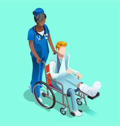 Black female nurse and patient isometric people vector