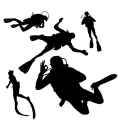Black silhouette of diving on whit background vector