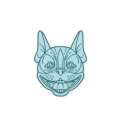 Boston Terrier Laughing Circle Mono Line vector image