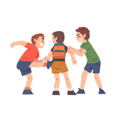 Boy bullied others two boys mocking laughing vector