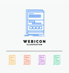 browser dynamic internet page responsive 5 color vector image