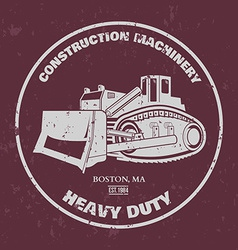 Bulldozer T-shirt design vector