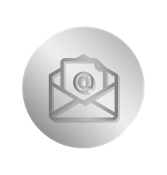 Button with envelope icon over white vector