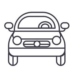 car vehicle front view line icon sign vector image vector image