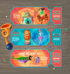 Cartoon circus show invitation tickets set vector