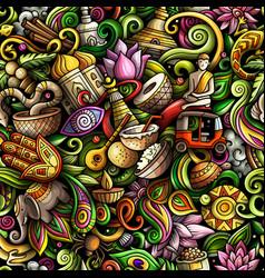 cartoon doodles india seamless pattern vector image