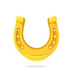 Cartoon gold horseshoe for good luck vector