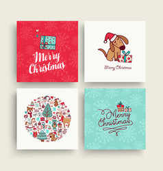 Christmas cute hand drawn puppy holiday card set vector
