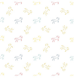 colored running horses seamless pattern vector image