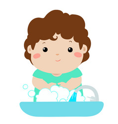 cute boy washing hands vector image