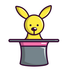 Cute bunny rabbit in magic hat icon cartoon style vector