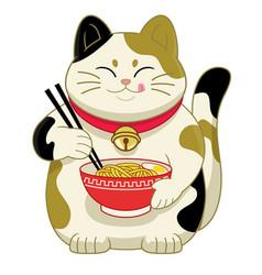 cute cartoon japans cat eating ramen noodle vector image