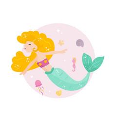 cute cartoon mermaid with yellowhair vector image