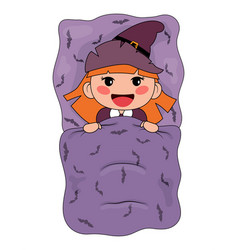 Cute cartoon witch lying in a bed vector