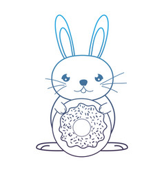 Degraded line male rabbit animal with sweet donut vector