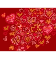 drawing heart shape background in red colors to vector image