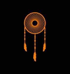 dream catcher sign orange icon on black vector image