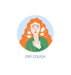 dry cough - symptom coronavirus hand drawing vector image