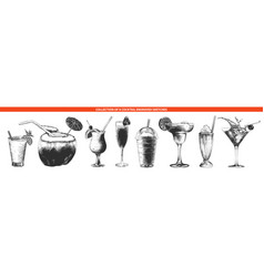 engraved style cocktail collection for posters vector image